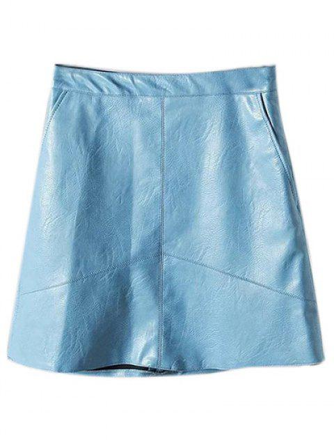 shops A Line PU Leather Mini Skirt - LIGHT BLUE M Mobile