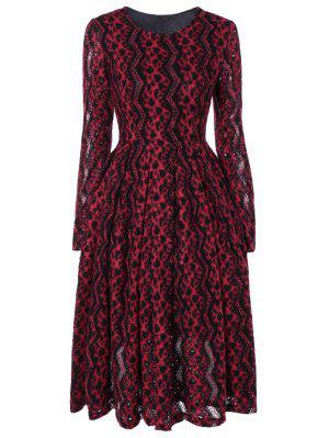 Chevron Stripe Long Sleeve Thermal Dress - Red M