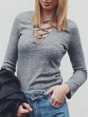 V Neck Lacing Sweater Dress