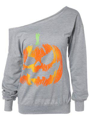Skew Neck Pumpkin Sweatshirt - Gray L