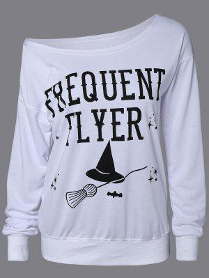 Letter Skew Neck Sweatshirt - White M