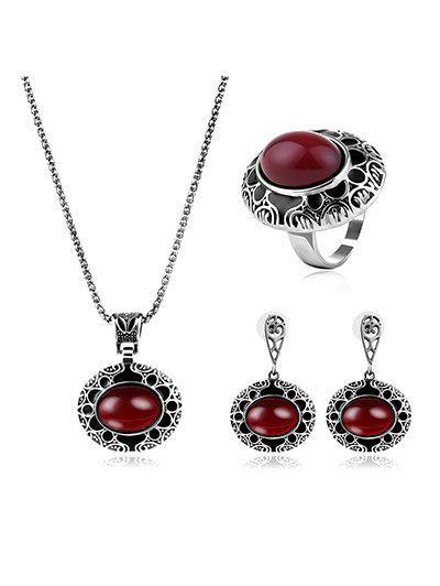 Bijoux Gravé Fleur Faux Ruby Set