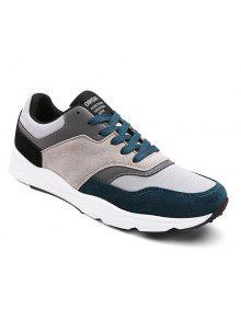 الجلد المدبوغ كتلة اللون التعادل يصل أحذية رياضية - أزرق 42