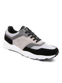 الجلد المدبوغ كتلة اللون التعادل يصل أحذية رياضية - أسود 42