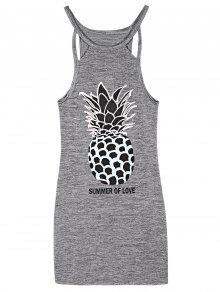 Bodycon Pineapple Imprimer Mini-robe - Gris L