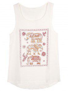Modelo Del Elefante Camiseta Sin Mangas - Blanco L