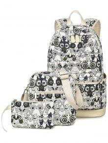 Buy Owl Pattern Canvas Color Block Backpack - WHITE AND BLACK