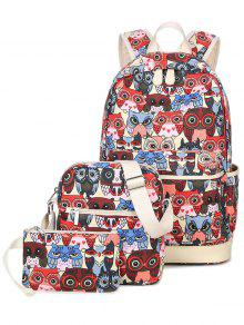 Buy Owl Pattern Canvas Color Block Backpack - RED