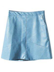A Line PU Leather Mini Skirt - Light Blue M
