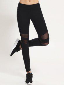 Leggings Panneau En Maille - Noir M