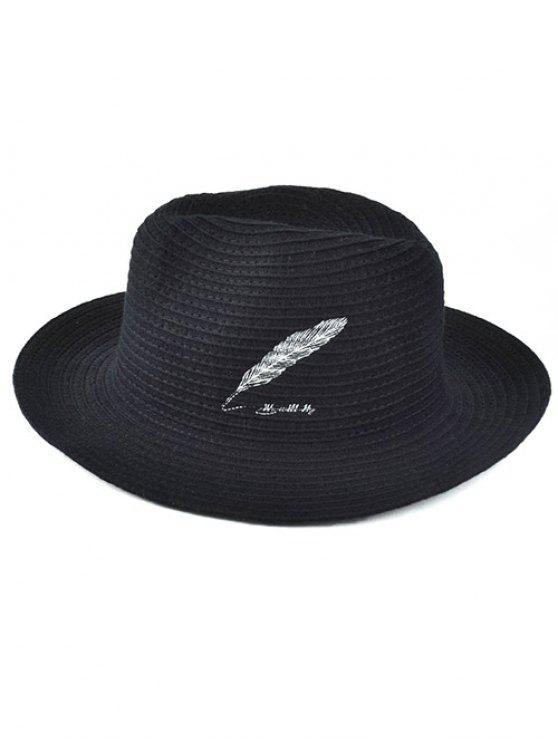 lady Feather Embroidery Knit Fedora - BLACK