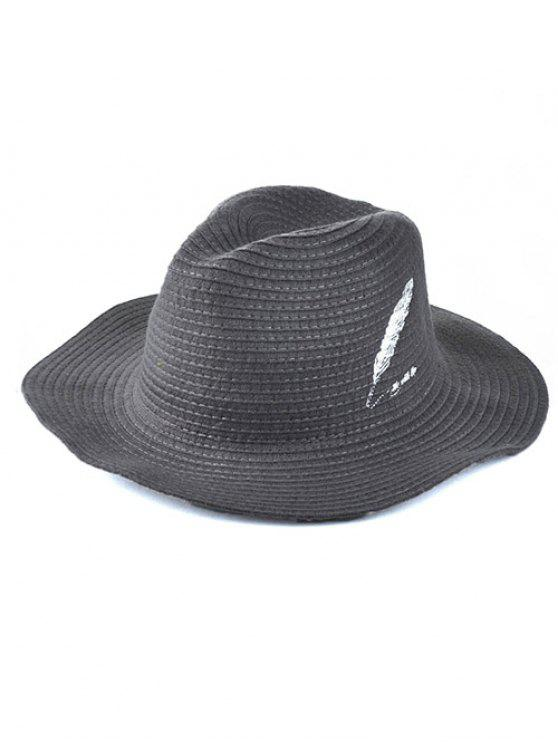2019 Feather Embroidery Knit Fedora In GRAY  68720ee9b1d