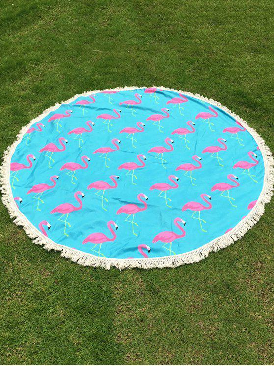 Canga de Praia Redonda com Franjas e Estampa de Flamingo - Azul claro Tamanho único
