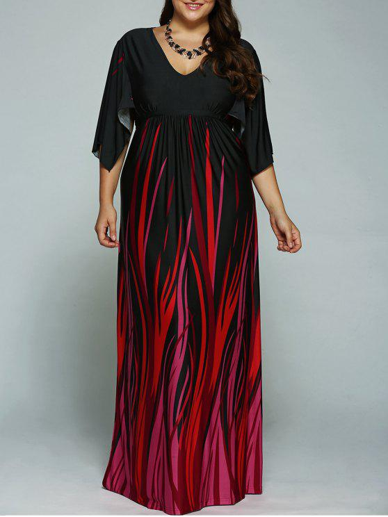 A Line Empire Waist Printed Plus Size Formal Maxi Dress with Batwing  Sleeves BLACK