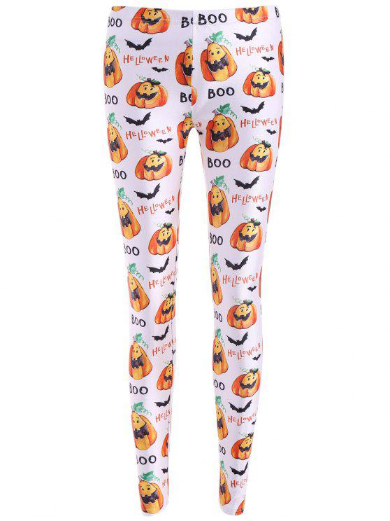 Bat de Halloween de impresión leggings - Blanco 2XL