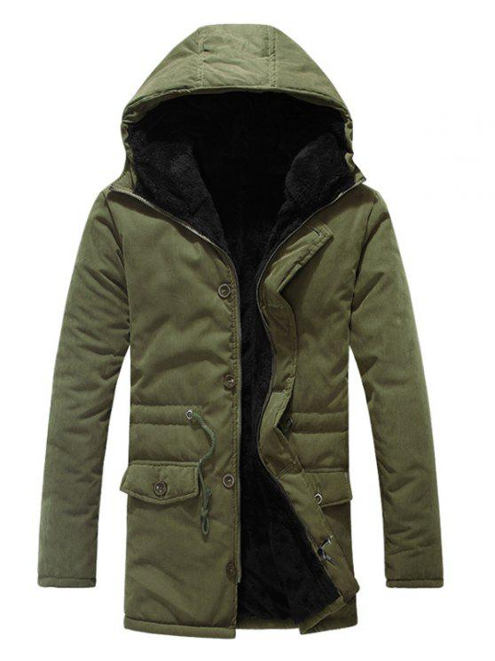 lady Drawstring Zipper Button Hooded Padded Coat - ARMY GREEN M