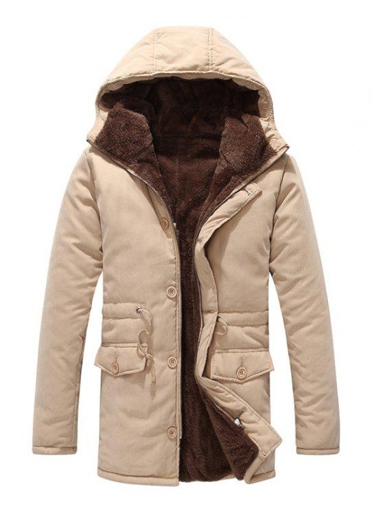 fancy Drawstring Zipper Button Hooded Padded Coat - LIGHT KHAKI L