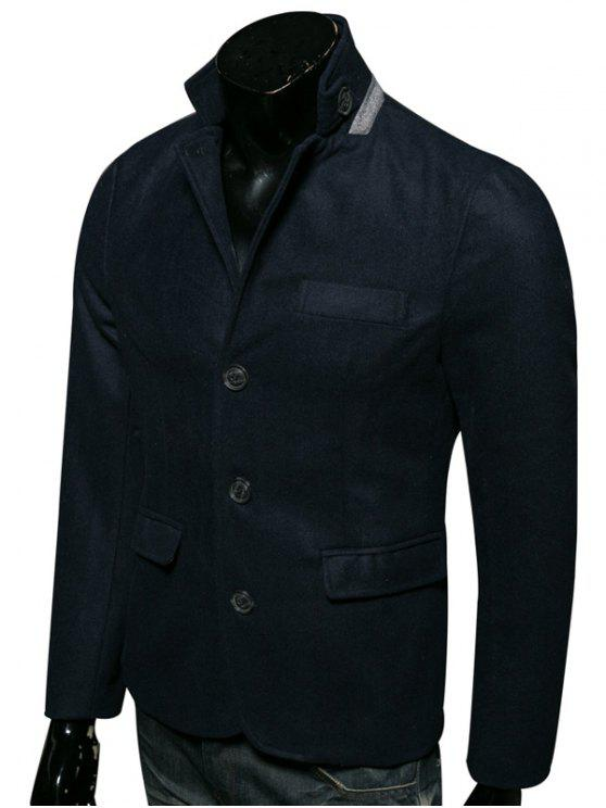 Cappotto Di Lana Con Colletto Dritto A Monopetto - Cadetblue XL
