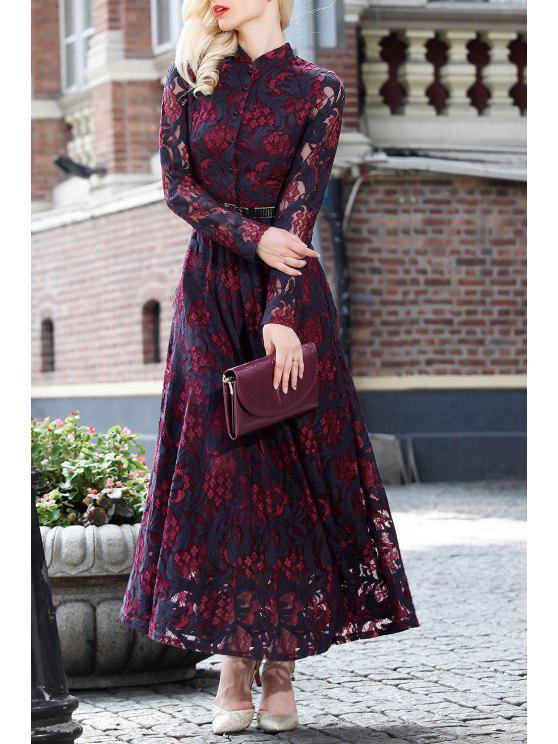 Lace Long Sleeve Cutwork Maxi Dress - Vinho vermelho 3XL