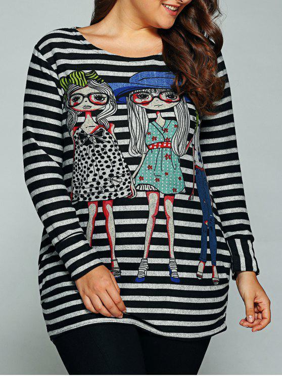 fashion Figure Pattern Striped T-Shirt - STRIPE ONE SIZE