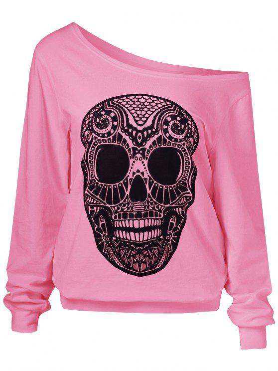 Oblique spalla 3D Skulls Felpa con stampa - Rosa L