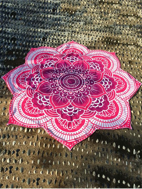 2019 Lotus Flower Round Beach Throw In Rose Red One Size Zaful