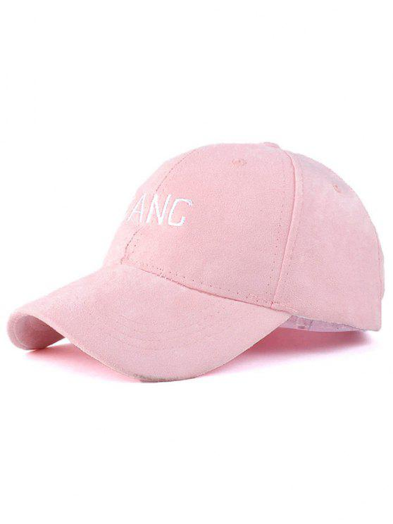 new Faux Suede Letters Embroidery Baseball Hat - PINK