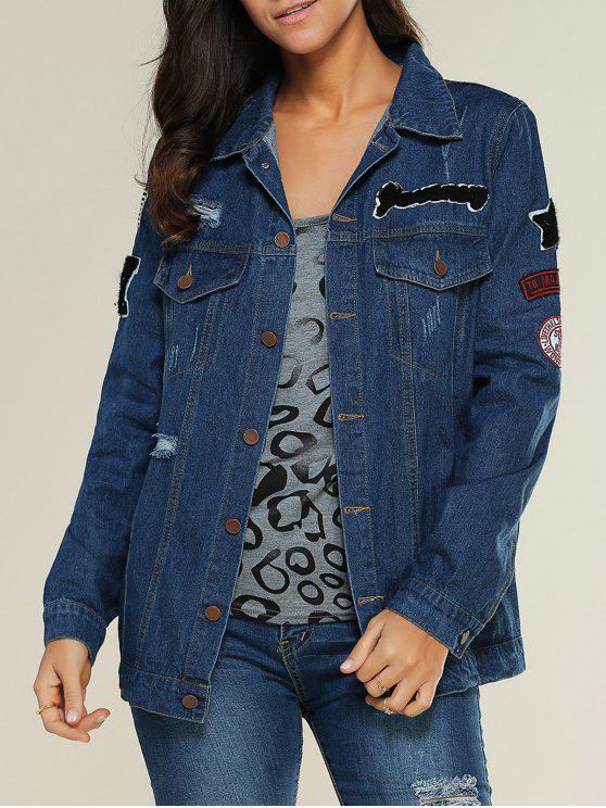 women Applique Shirt Collar Ripped Denim Jacket - DENIM BLUE S