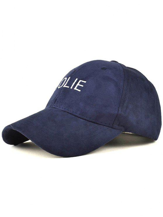 hot Adjustable Letters Embroidery Faux Suede Baseball Hat - CADETBLUE