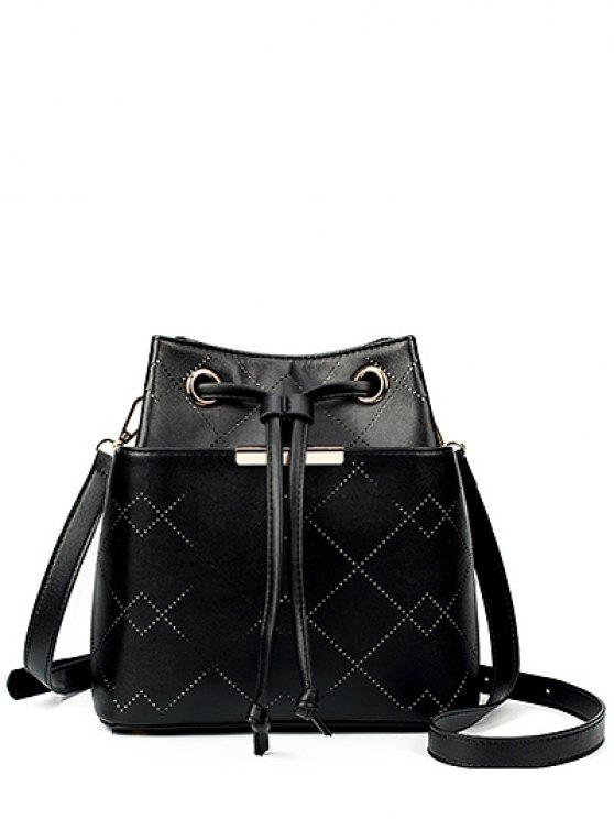 chic Geometric Pattern Drawstring Metal Crossbody Bag - BLACK