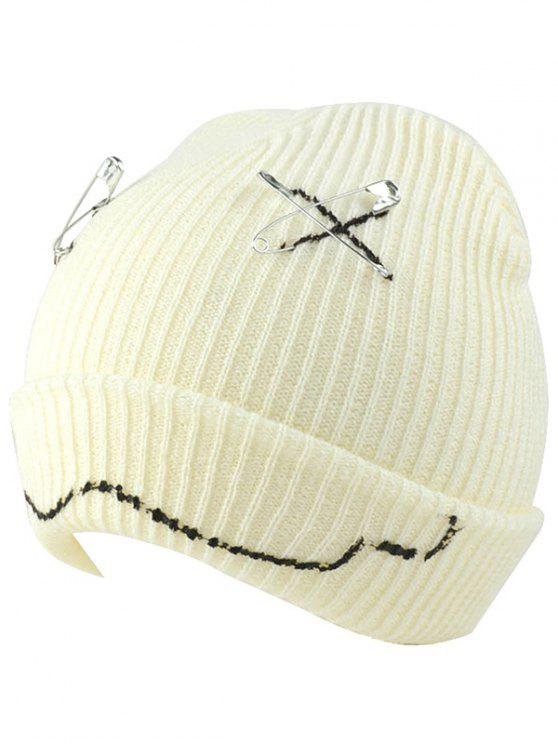 latest Paper Clip Smiling Face Flange Knitted Beanie - WHITE
