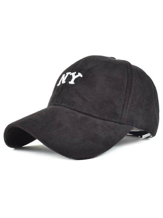 lady NY Embroidery Faux Suede Baseball Hat - BLACK
