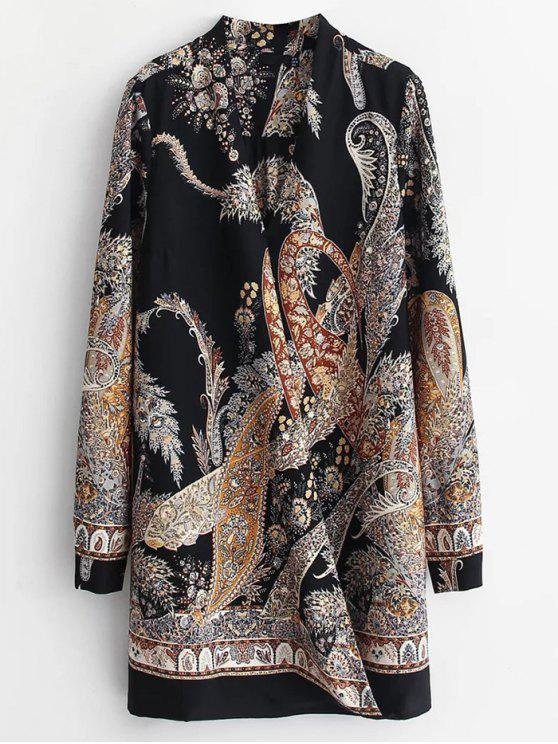 fashion Abstract Print Long Sleeve Shift Dress - COLORMIX L