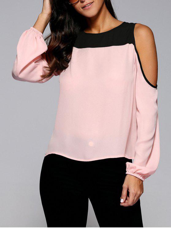 بلوزة شيفون باردة الكتف - الضحلة الوردي XL