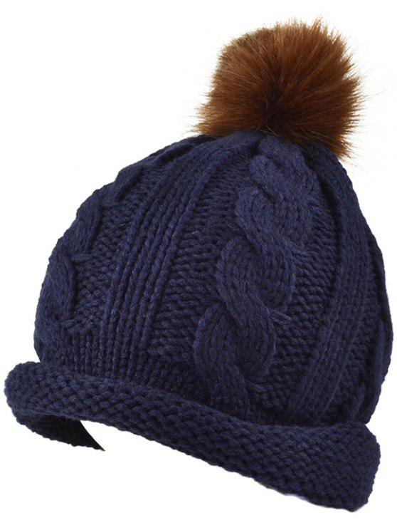 chic Pom Ball Hemp Flowers Beanie Cap - CADETBLUE