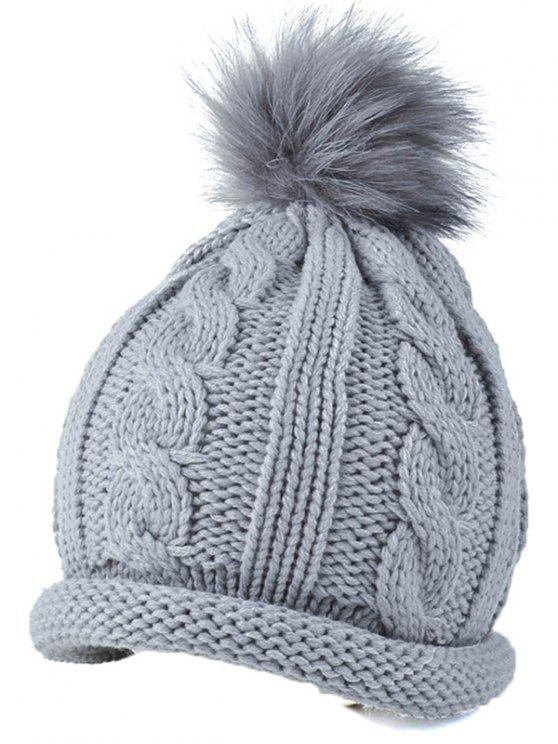 sale Pom Ball Hemp Flowers Beanie Cap - GRAY