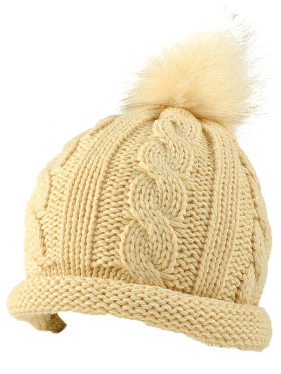 affordable Pom Ball Hemp Flowers Beanie Cap - BEIGE