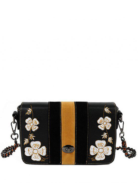 womens Flower Embroidery Striped Pattern Crossbody Bag - BLACK