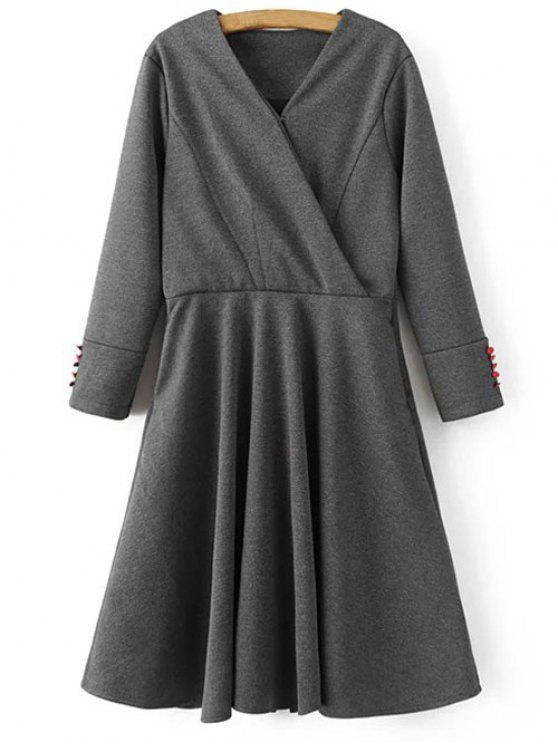 sale Long Sleeve Crossover Midi Dress - GRAY M