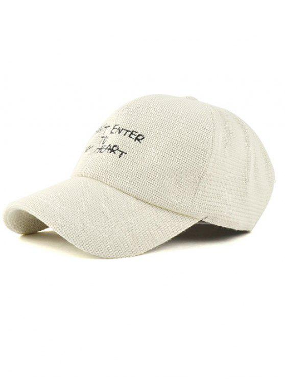 Carta del bordado de punto sombrero de béisbol - Blancuzco