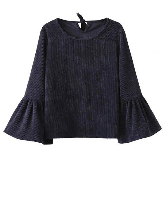 trendy Bell Sleeve Corduroy Blouse - PURPLISH BLUE M