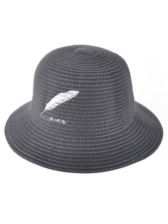 womens Feather Embroidery Knit Bucket Hat - GRAY