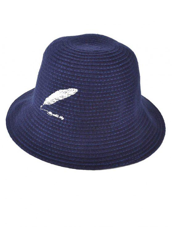 women's Feather Embroidery Knit Bucket Hat - CADETBLUE