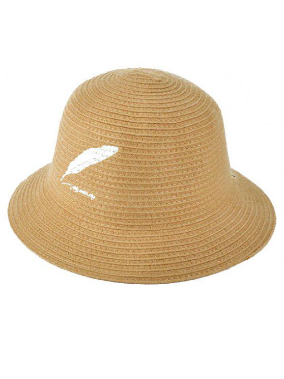 ladies Feather Embroidery Knit Bucket Hat - LIGHT KHAKI
