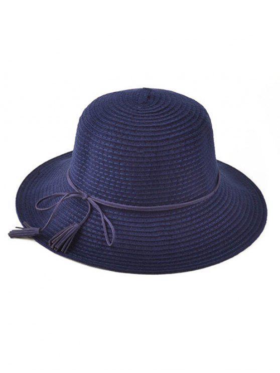 Chapeau en tricot à lacet et frange - Bleu Cadette
