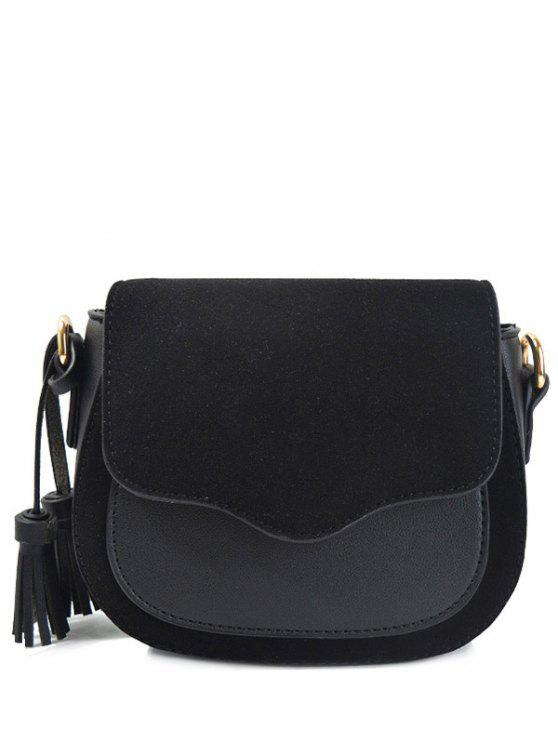 trendy Tassels Splicing Magnetic Closure Crossbody Bag - BLACK