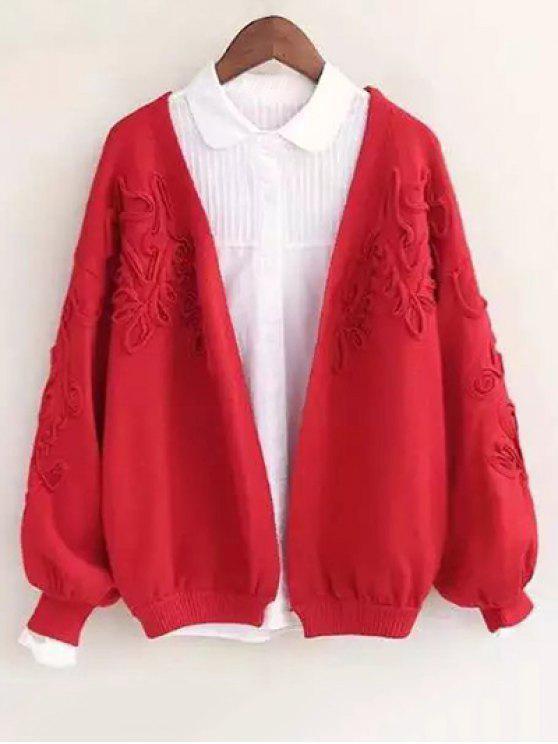 Floral apliques Cardigan - Rojo Única Talla