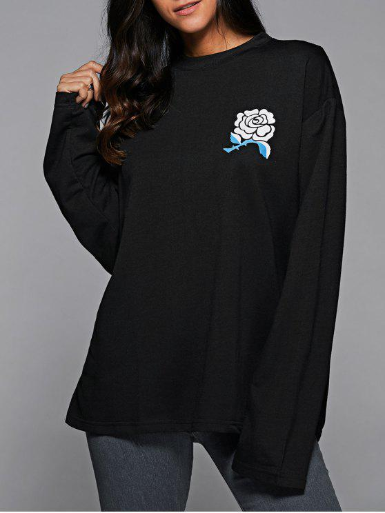 fashion Floral Print Oversized Sweatshirt - BLACK L