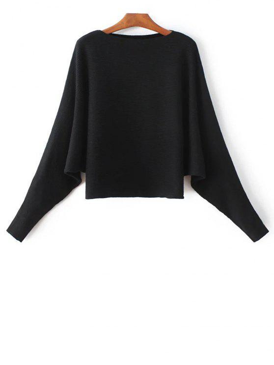 Ala de murciélago suéter manga - Negro Única Talla
