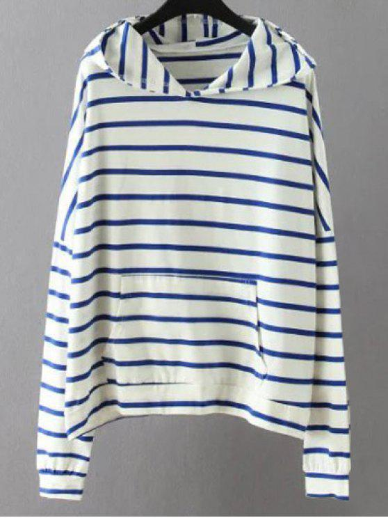 shop Pockets Striped Sweatshirt - WHITE 3XL